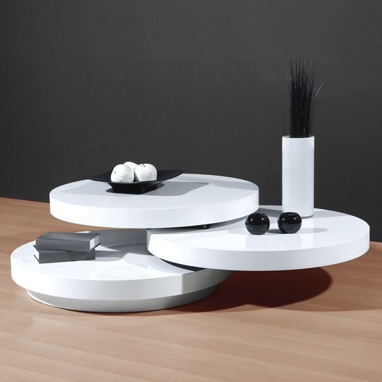 Features Stylish White High Gloss Coffee Table With Swivel Function Smooth