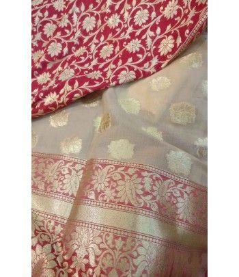 Half & Half Handloom Banarasi Uppada Silk Saree--- For details of this saree click on this link------ http://luxurionworld.com/banarasi-Sarees-varanasi-pure-silk