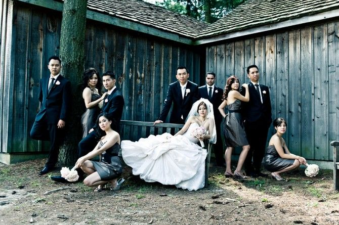 annie leibovitz inspired dynamic wedding party group shot
