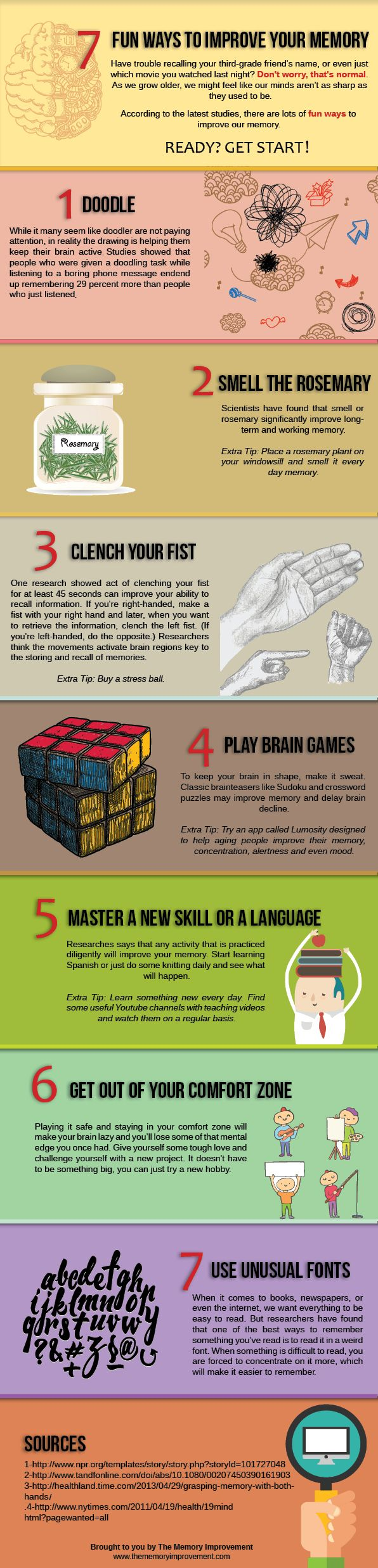 Infographic with seven fun ways to improve your memory. Just try some doodling or playing brain games. It can help your brain a lot!