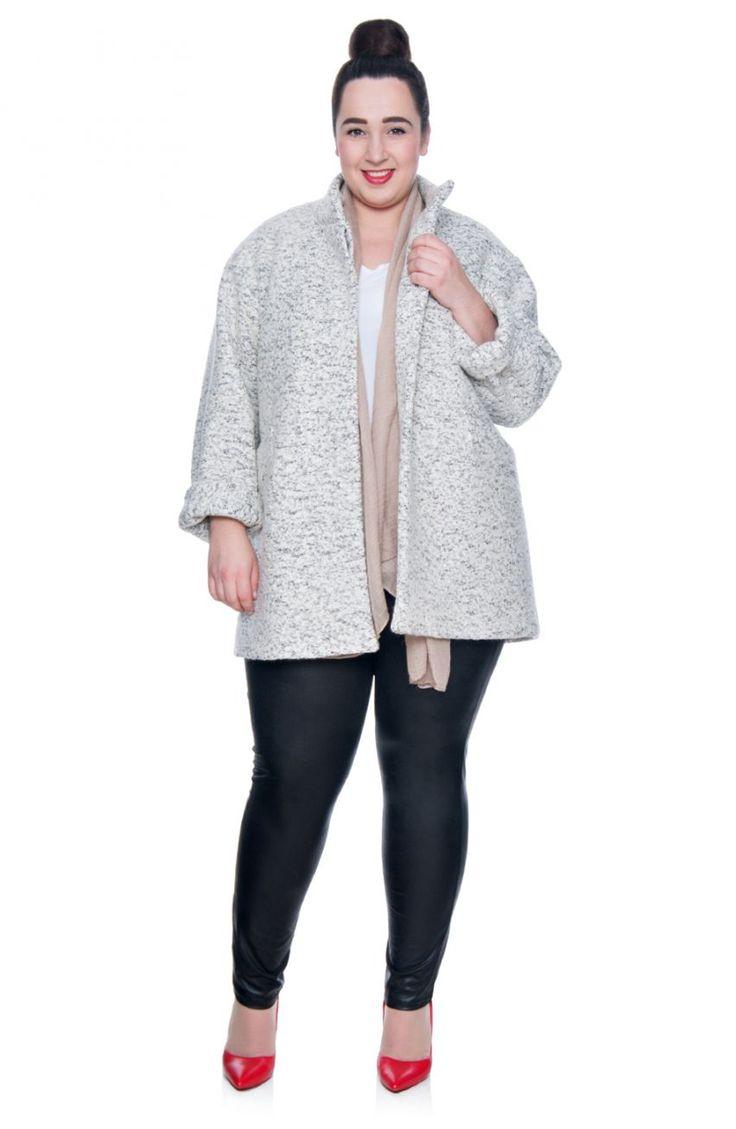 Jasnoszary płaszcz z melanżowej wełny - Modne Duże Rozmiary