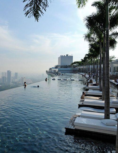 Infinity pool in Marina Bay Sands Skypark, Singapore