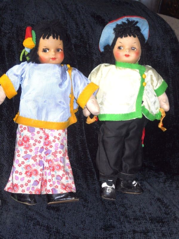 """PAIR OF VINTAGE ORIENTAL CLOTH  DOLL'S : 15"""" Tall"""