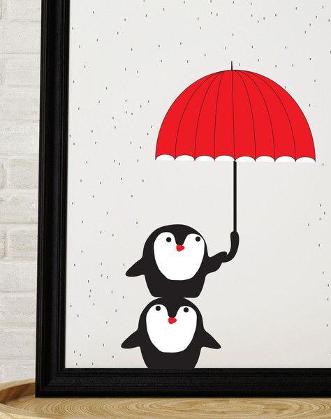 Deszczowe pingwiny - Szare-Kropki - Plakaty dla dzieci