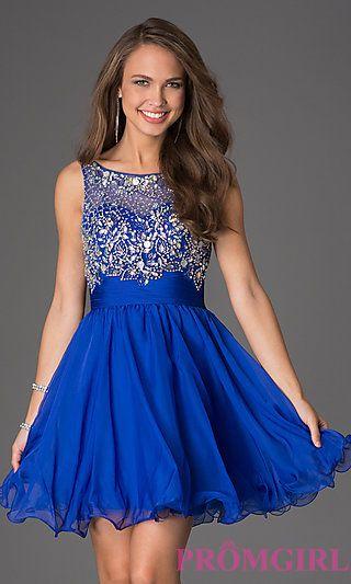 Short Sleeveless Beaded Party Dress at PromGirl.com  Addicted :)