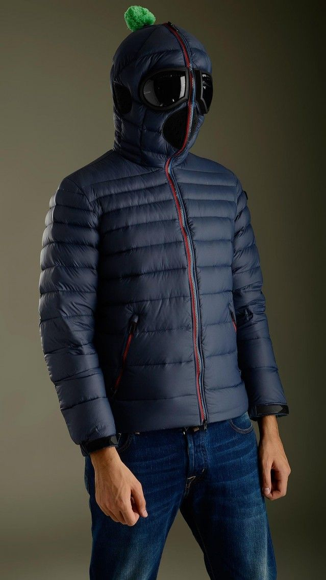 Blue ultra light down jacket featuring zip fastening with double puller, long sleeves, two zippered seam pockets, inner pockets, elasticized waistband, Velcro cuff closure, no detachable hood, removable polycarbonate lenses in silicone frame, mesh grate detailing ears and mouth, removable pompom, regular fit, 100% polyamide, padding 100% goose down feather.