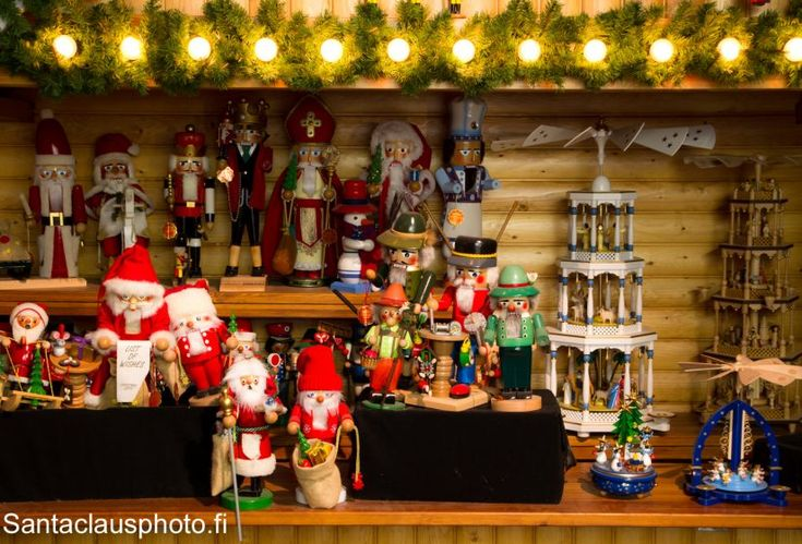 German wooden Christmas decorations at our Christmas exhibition in Santa Claus…