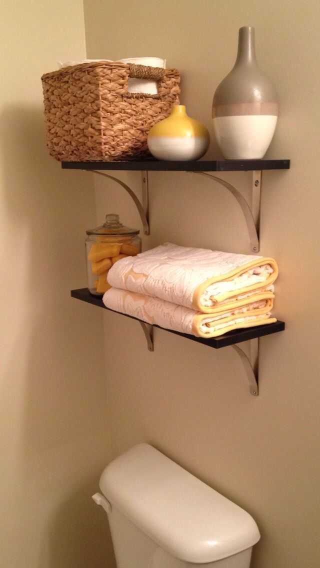 Shelves above toilet, Grey and Yellow Bathroom   – Yellow Bathroom Decor – #bath…   – most beautiful shelves