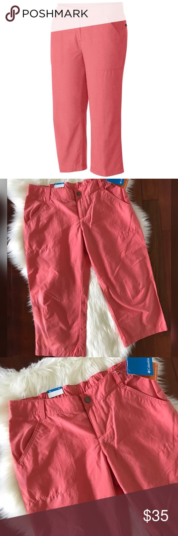 """Columbia Coral Capris Pants Size 10 Brand new pants from Columbia.  Regular fit.  Capris style pants.  Size 10.  Length 20"""".  Color: Coral Bloom. Columbia Pants Capris"""