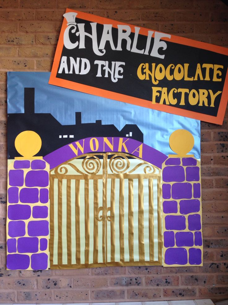 My Charlie and the chocolate factory display board in the school library.