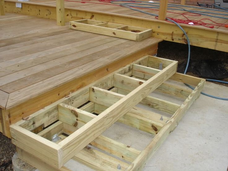 Deck stairs landing with box stairs to patio need help for Decking framework timber