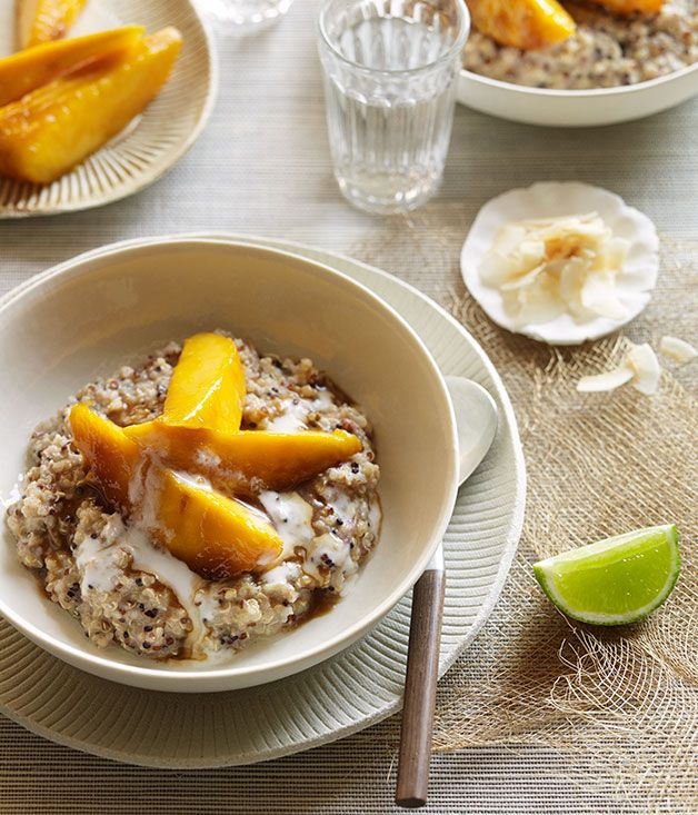 Australian Gourmet Traveller recipe for sweet coconut quinoa with sticky mango.