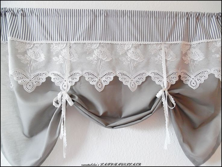 Gardinen - ♥SHABBY CHIC♥RAFFGARDINE♥LANDHAUSGARDINE♥weiß♥grau - ein Designerstück von rosenstuebchen bei DaWanda