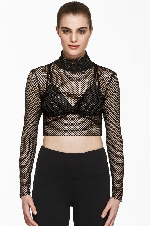 Brianne Mesh Crop $58 The perfect layering piece to add some edge to your look. Featuring a mock neck design and open mesh fabrication to let your favourite tanks and bras peak through.  Mesh fabric is soft, lightweight and stretchy to keep you comfortable and allow for freedom of movement.       *Bra pictured not included*