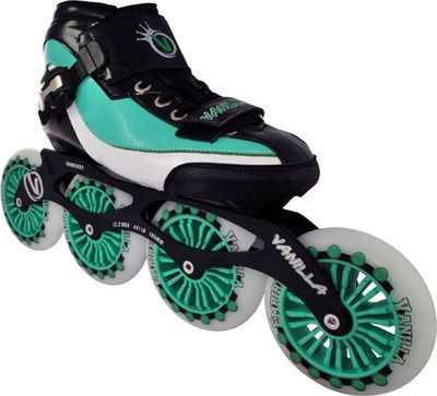 Vanilla Empire Inline Speed Skates Vanilla Empire Inline Speed Skates Great racing skate at a great price. •Boot: Carbon fiber, heat-moldable boots. •Frames: 7000 Series aluminum frames with a 4x100mm set-up. •Wheels: 100mm 85A Indoor/Outdoor wheels. www.buyskatesonline.com