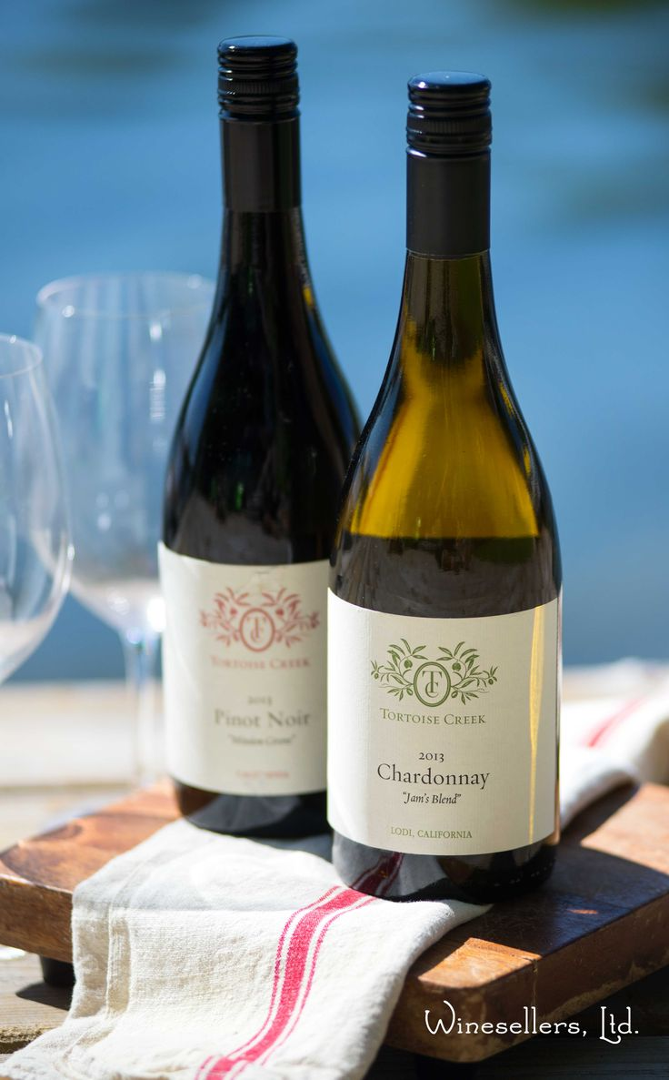 The perfect duo for lakeside dining - Tortoise Creek Chardonnay and Tortoise Creek Mission Grove Pinot Noir.   http://winesellersltd.com/wine-brand/USA/Tortoise%20Creek%20CA