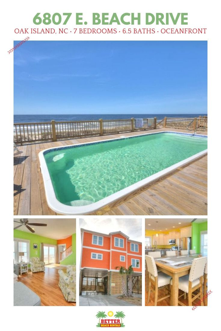 This Oak Island Oceanfront Beauty Is Booking Fast For Summer 2020 Don T Miss Your Chance To Vacati Oak Island Rentals Orange House Ocean Front Homes