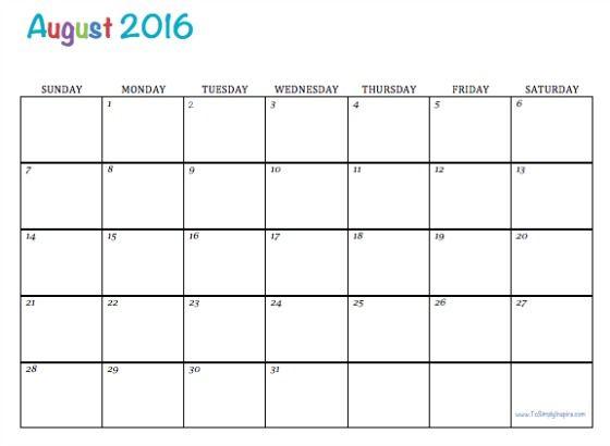 Best 25+ August 2016 printable calendar ideas on Pinterest - assessment calendar templates
