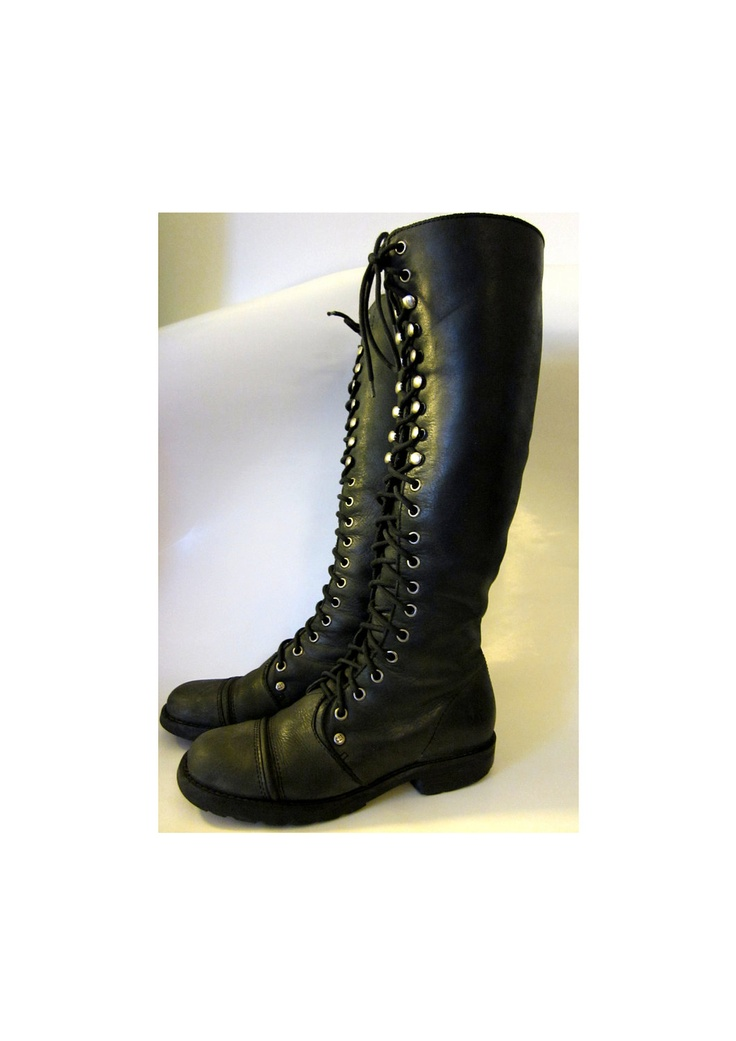 Vintage CATERPILLAR  chunky high black leather lace up boots 37 UE/ Us 6/ Uk 4. $150.00, via Etsy.