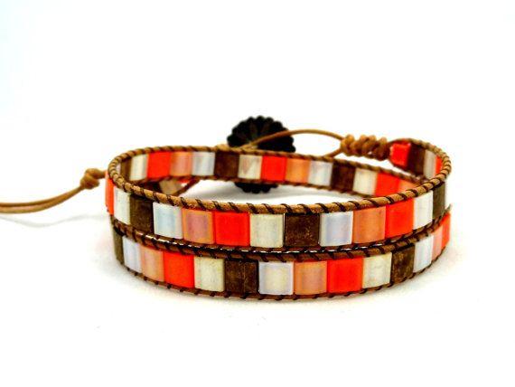 Leather Wrap Bracelet, Wrap Bracelet, Leather Bracelet, Mosaic Bracelet, Tila Beaded Leather Wrap Bracelet, Bohemian Bracelet, Gift for Her