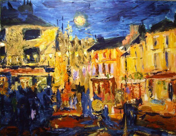 """'Athy at Night, No.1'.  30""""x40"""" acyrlic on canvas, 2009, sold.  A painting by Bob Gravenor.  www.facebook.com/BobGravenorFineArt"""