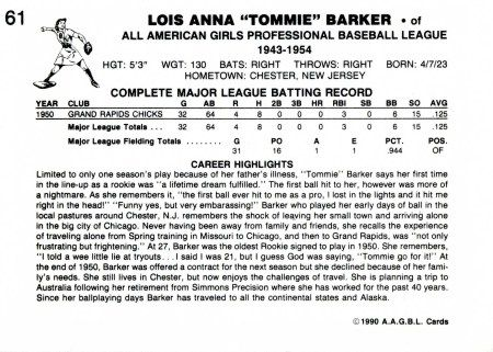 "Lois Anna ""Tommie"" Barker, Unofficial Baseball Card, 1990, back"