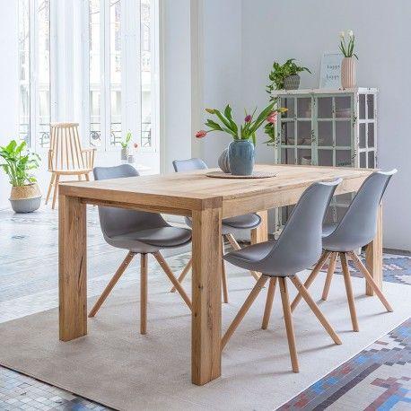 Mesa de comedor extensible con pies y sobre de roble macizo acabado natural. Una mesa perfecta para tu comedor, extensible. Disponible en dos medidas: