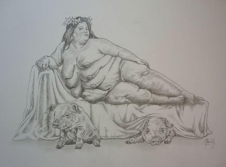 """"""" l'Artémis d'Éphèse """" dessin préparatoire sur  papier"""
