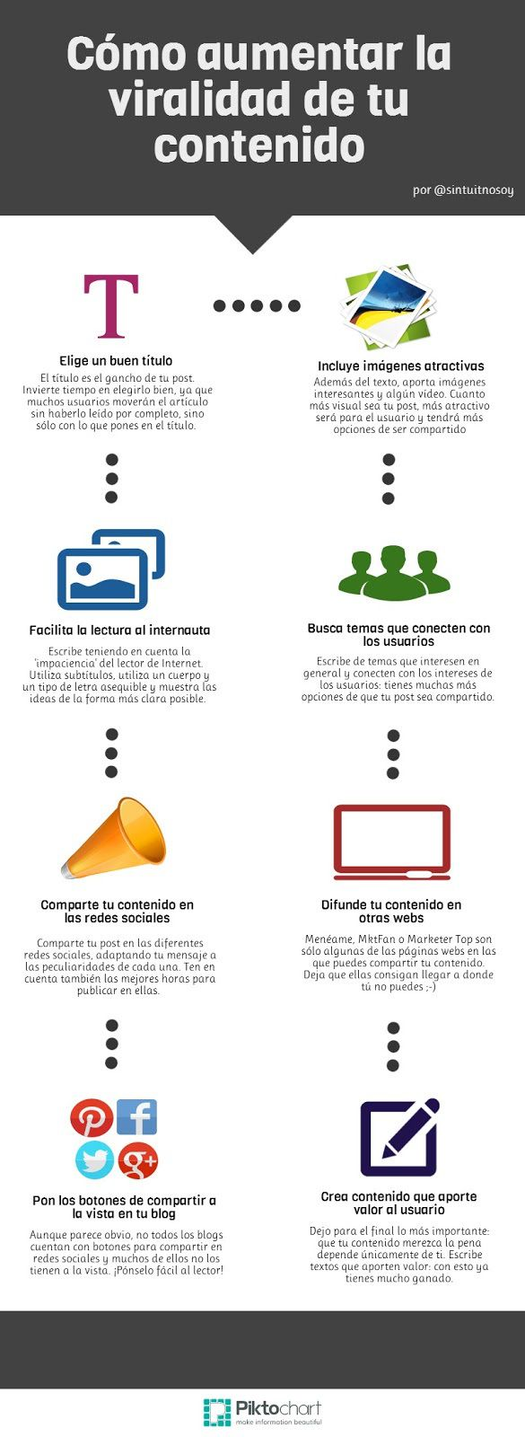 8 maneras de aumentar la viralidad de tu contenido #infografia #infographic #marketing