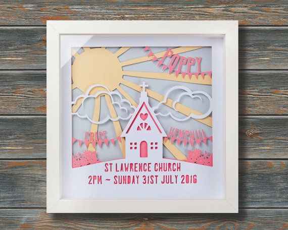 Sunbeam Girl's Christening Framed personalised by wallaceimagery