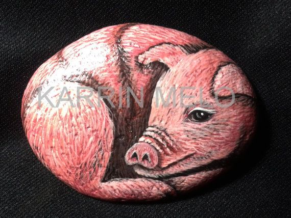 Hand Painted Stone / Painted Rock / Piglet / by MeloArtGallery, $25.00