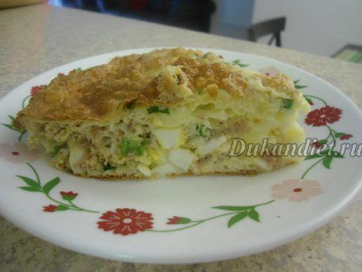 Нежный пирог с тунцом, яйцом и луком | Диета Дюкана