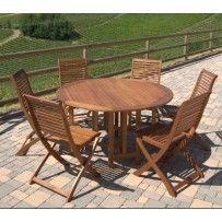 """Set tavolo 6 sedie mod. """"Baiza"""" in legno massello Balau. Struttura molto robusta e resistente."""
