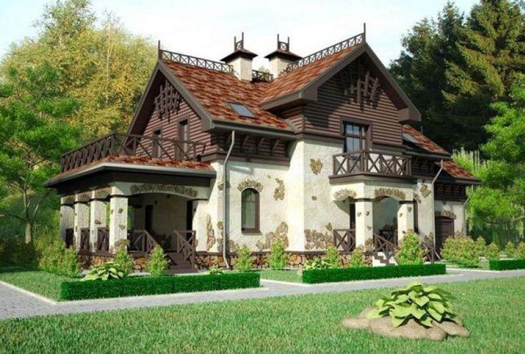 Casă tip conac boieresc, cu exteriorul placat în piatră poligonală şi inserții din lemn. – Case De Vis