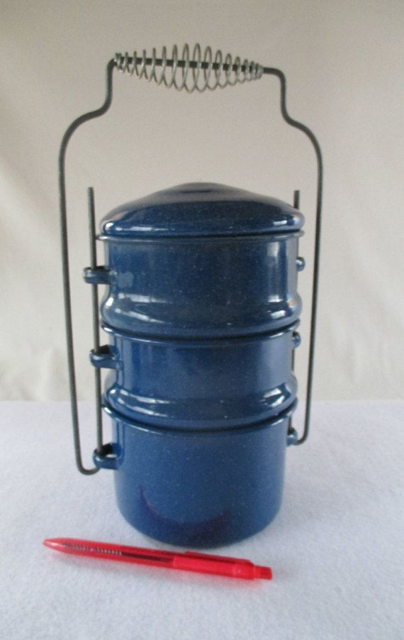 Food Carrier Blue Granite ware Vintage  Used Metal by HobbitHouse #etsyspecialt #integritytt