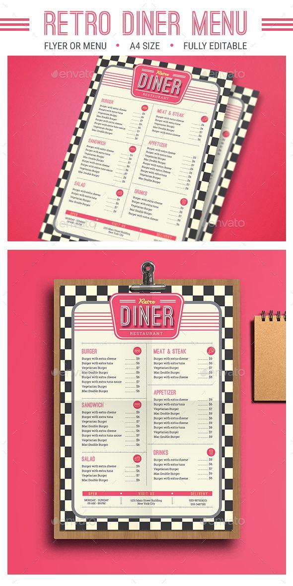 Retro Diner Menu  #burger #PSD #food • Click here to download ! http://graphicriver.net/item/retro-diner-menu/16044609?ref=pxcr