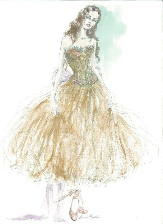 Irina Dvorovenko, a principle dancer at the American Ballet Theatre, wearing Maggie Norris Couture # Illustrated by Anna Kiper