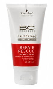 Reparador de pontas para cabelos danificados, descoloridos e porosos. Com BC Repair Rescue com aminoácidos e proteínas que reestruturam profundamente os fios, tanto internamente quanto externamente! Um sucesso!