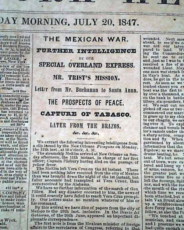 tabasco captured mexican american war matthew c perry  tabasco captured mexican american war matthew c perry 1847 old newspaper mexican american war1845 mexican american war