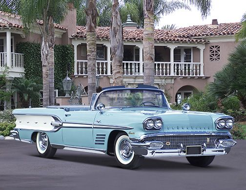 1958 Pontiac Bonneville. Look at all that chrome.                                                                                                                                                                                 More