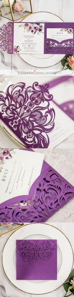 romantic boho laser cut pocket wedding invitation in shades of purple