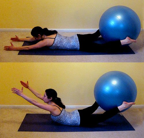 Superman Booty Lifts:  Lie on belly, hold an exercise ball between your feet. Engage abs and extend arms straight out in front of you. As you inhale, squeeze the ball and lift your knees, arms, and chest off the floor. Hold for a count of 10 then slowly release your body back to the floor. Repeat 10x.