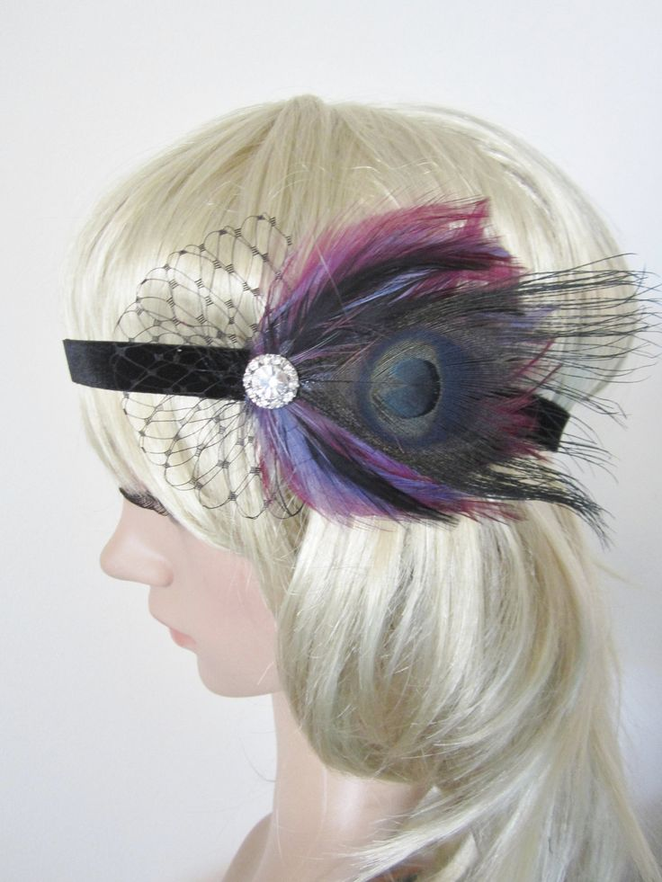 Burlesque Theme Party Supplies | Purple and black feather 1920s inspired flapper headband fascinator
