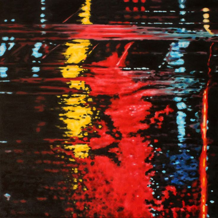 """Parallels X - oil on canvas, 24 x 24"""" (60 x 60 cm) - rainy streets at night with streetcar tracks"""