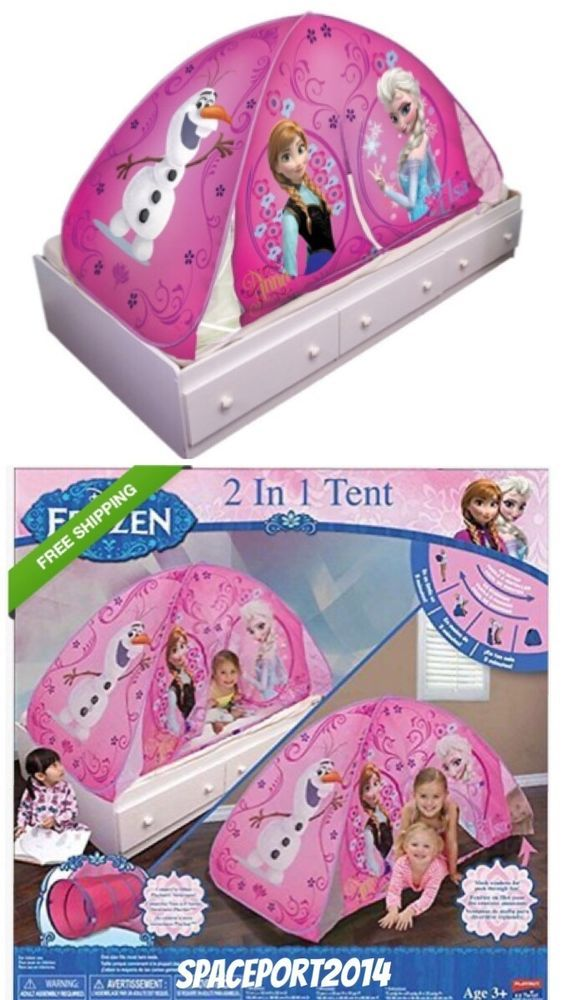 Storage Organizer Toy Box Disney Frozen Playroom Bedroom: FROZEN Twin Night Light-Up BED TENT Playhouse Playhut Anna