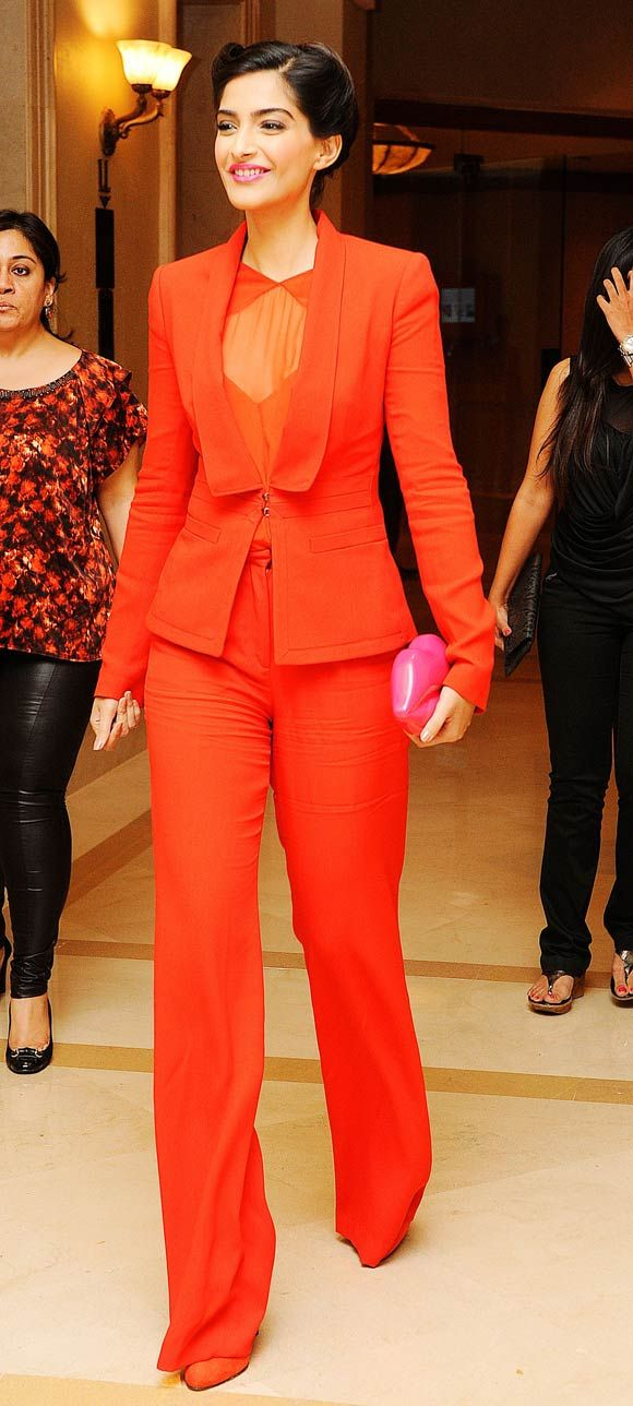Image result for sonam kapoor red pantsuit