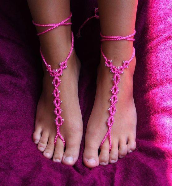 Gioielli piedi, sandali a piedi nudi di MaggieP Traumwollen für Wollträume su DaWanda.com