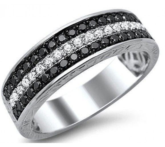 mens 55ct black white round diamond pave wedding band ring 14k white gold