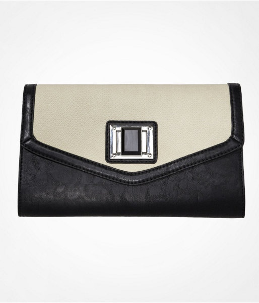 Express Womens Color Block Faceted Turn Lock Foldover Clutch