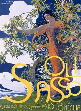 Virgin Olive Oil Sasso This is a vintage fine art giclee print featuring the extra virgin olive oil, Sasso. A woman is entangled in the branches of the olive tree.*